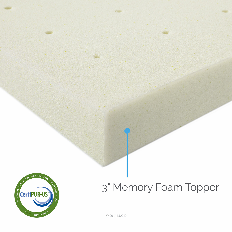 """3"""" Memory Foam Mattress Topper by LUCID®"""