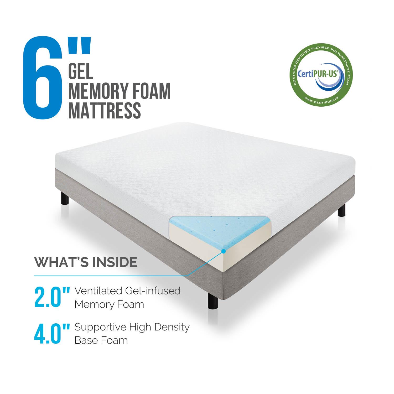 6 inch Gel Memory Foam Mattress